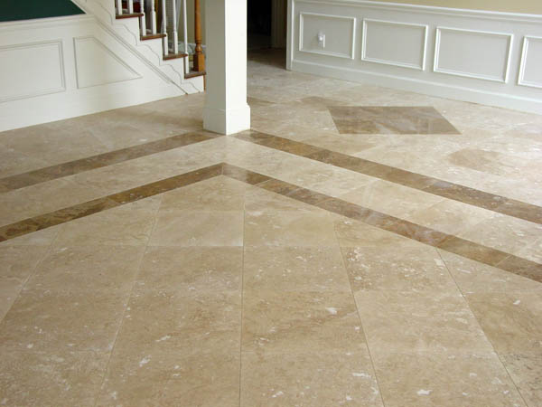 18x18 Travertine Tiles With Darker Border And