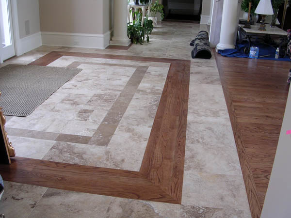 Foyer Tile To Wood Transition : Two shade travertine tiles with border combined