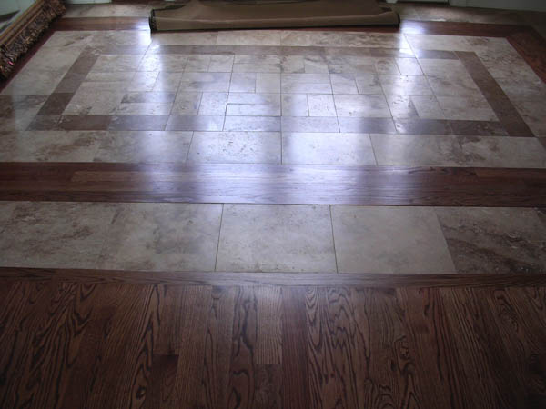 18x18 Travertine Tiles With Darker Border And Diamond